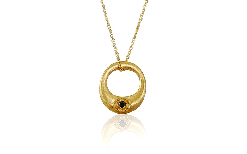 'Little Luca' 18 Carat Yellow Gold and Black Diamond Necklace