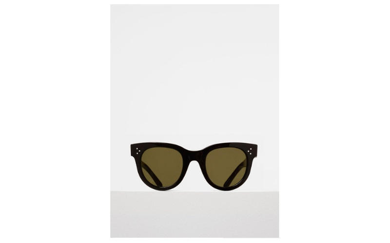 BABY AUDREY SUNGLASSES IN BLACK ACETATE WITH GREEN LENSES