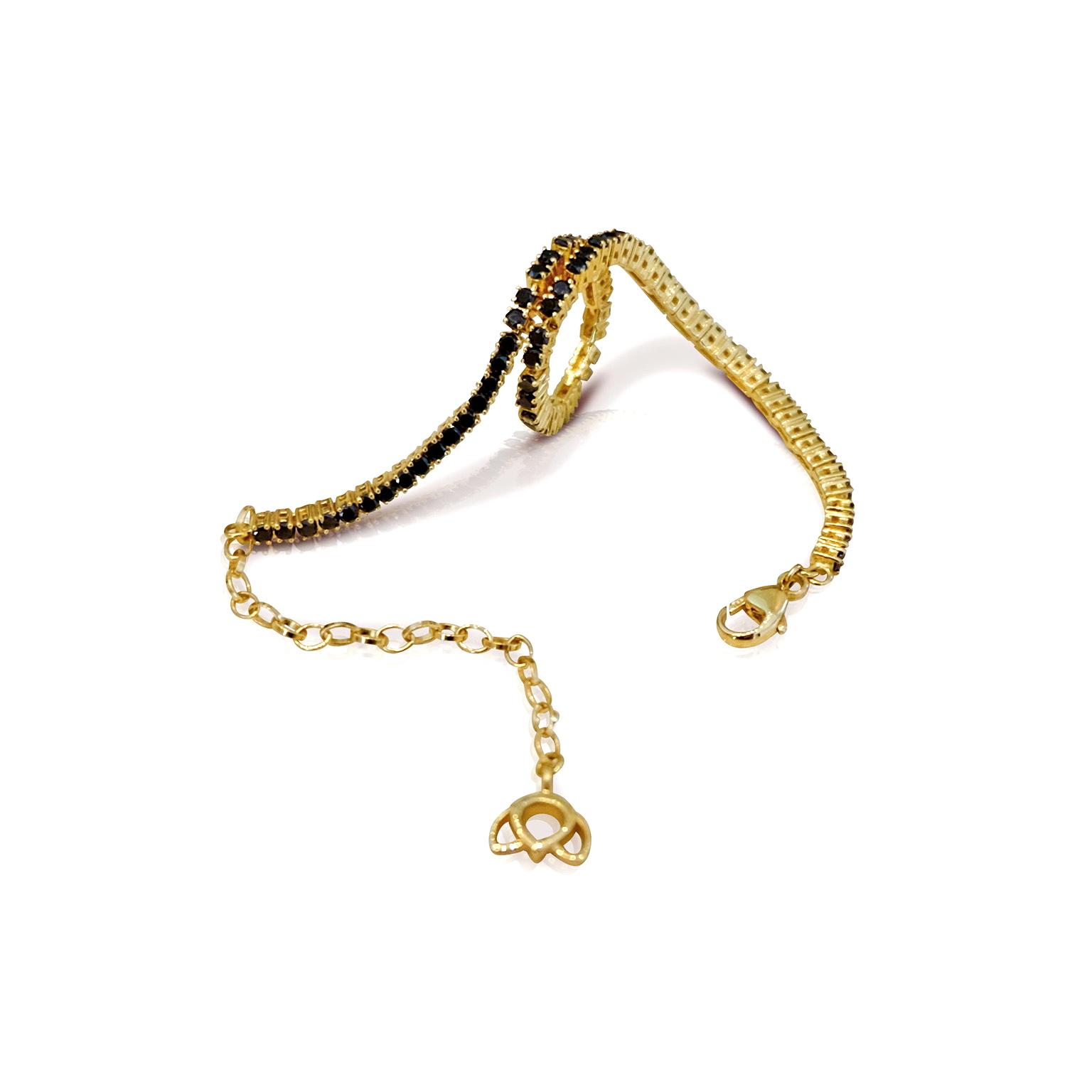 'Little Luca' 18 Carat Yellow Gold & Black Diamond Lotus Bracelet