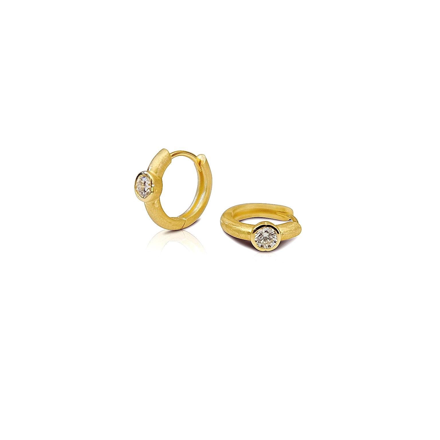 'Little Luca' 18 Carat Yellow Gold Diamond Earrings