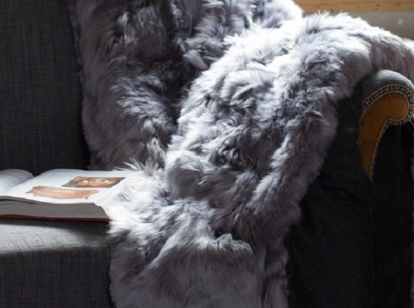 Alpaca Throw - Light Gray