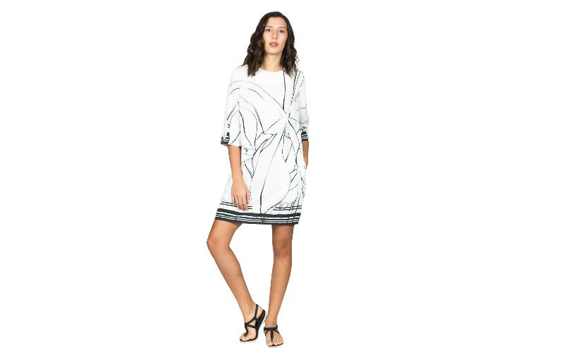Tencel Box Dress in Black & White Print