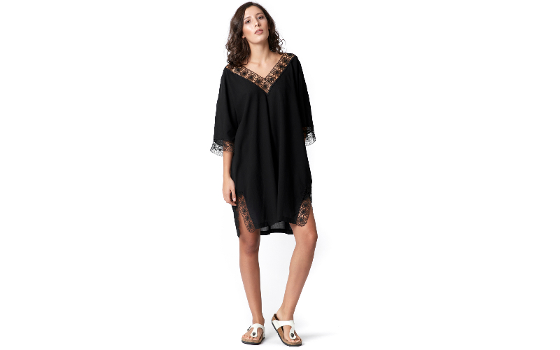 Cotton Voile Kaftan Dress in Black with Needle Lace