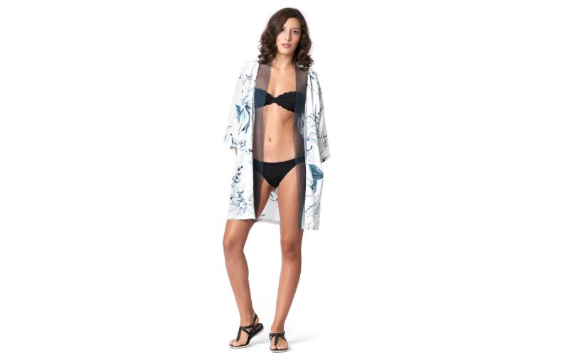 Silk Kimono Jacket with Needle Lace in White