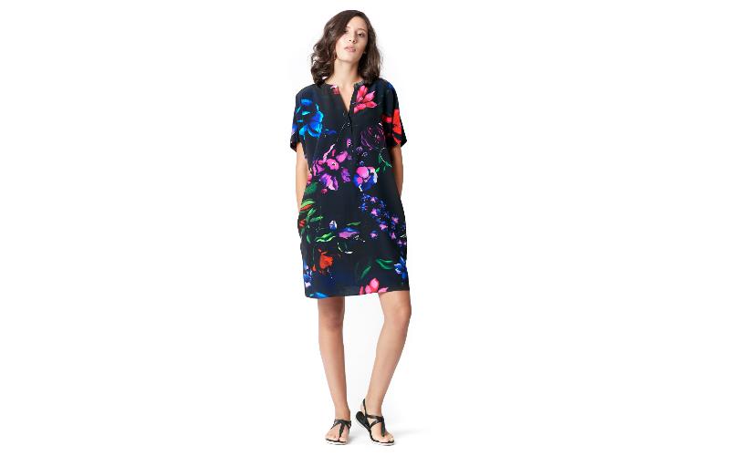 Silk Shirt Dress in Blue Black Print