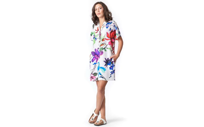 Silk Shirt Dress in Multicolour Print