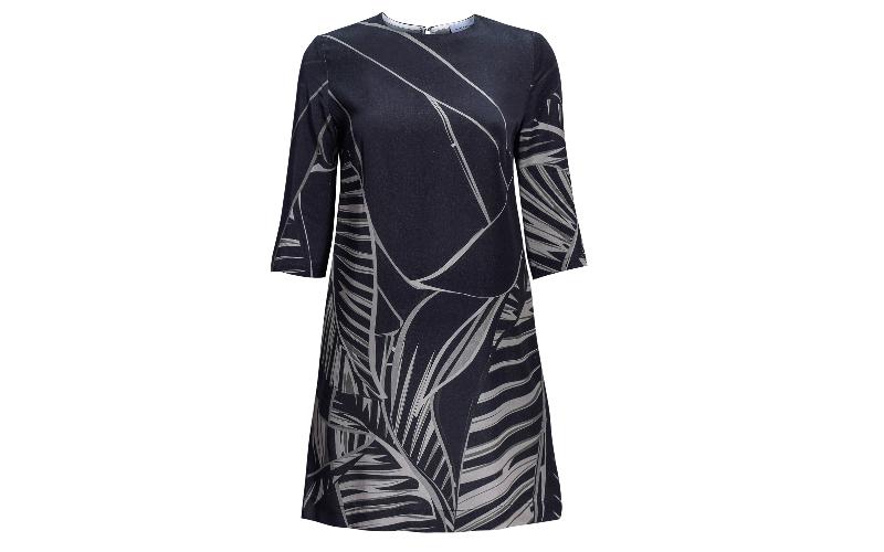 Tencel Box Dress in Olive Green & Black Print