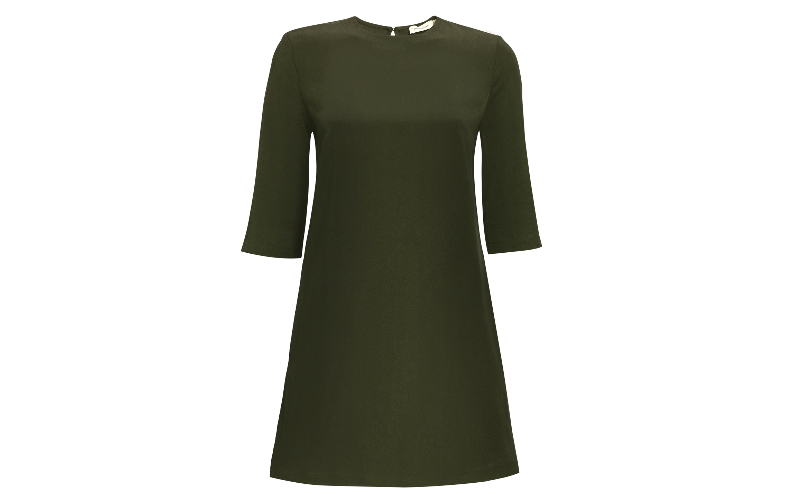 Tencel Box Dress in Olive Green