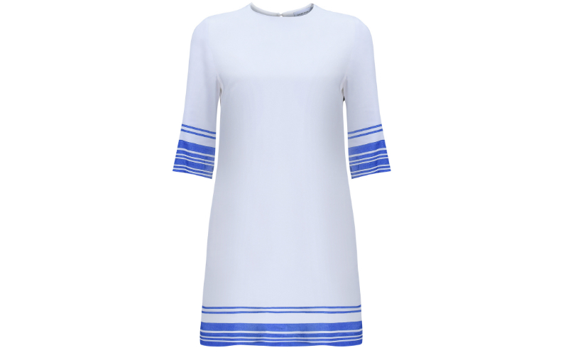 Tencel Box Dress in Blue Striped Print