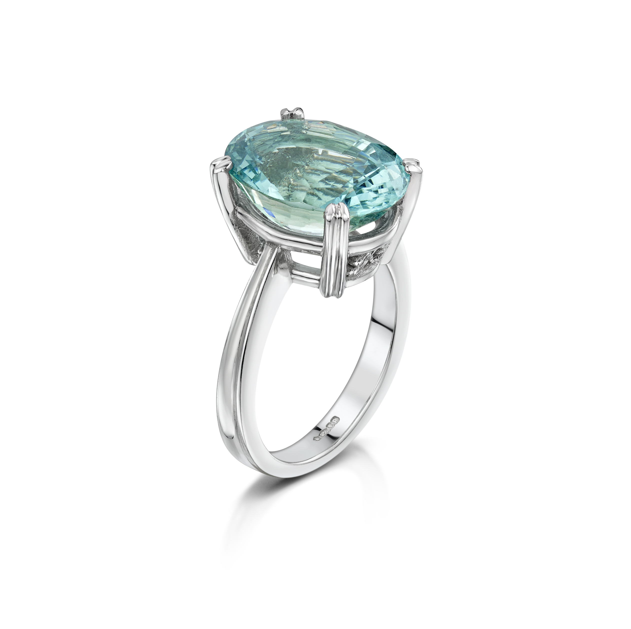 AQUAMARINE & PLATINUM RING